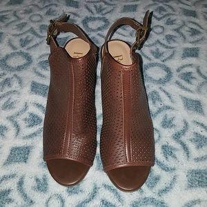 Open toe block heel booties